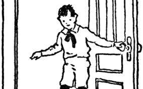 door clipart black and white. Boy Closing Door ClipArt ETC Clipart Black And White