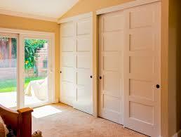 White Sliding Closet Door Options With Wooden Bed On Cream Rug And Glass  Door