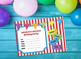 Carnival Birthday Invitations Free Printable Carnival Themed Birthday Party Invitation