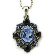 navy blue cameo pendant necklace charm