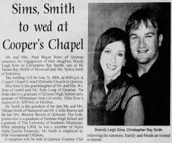Brandy Leigh Sims - Christopher Ray Smith wedding announcement -  Newspapers.com