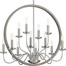 progress lighting p400083 009 fontayne brushed nickel 12 light chandelier