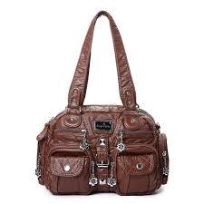 angel kiss women soft leather multi pocket motorcycle bag shoulder bag cross bag handbag deep blue cod