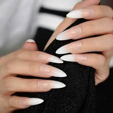French Tip Stiletto Nail Designs Ombre Extra Long French Nail Extreme Stiletto Sharp Gradient