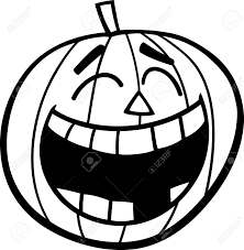 black and white cartoon ilration of laughing pumpkin clip art for coloring book stock vector
