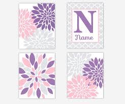 baby girl nursery wall art purple lavender pink gray grey dahlia mums fl personalize canvas prints