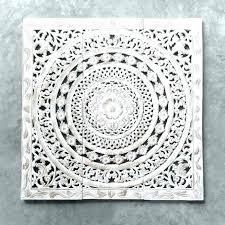 carved whitewash round wall decor white pier 1 en whitewashed carved wood wall decor