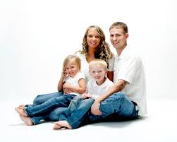family portrait on white background