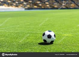 Soccer Ball Lying Green Grass Stadium Stock Photo VitalikRadko