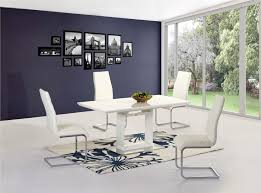 white high gloss extending dining table and chairs homegenies new set for outdoor round tablecloth granite