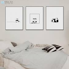 2019 minimalist black white kawaii panda animal posters and prints nordic kids baby room wall art pictures home decor canvas painting from blithenice