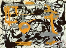 yellow grey black painting jackson pollock yellow grey black art print
