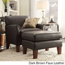 Leather Accent Chair With Ottoman Tribecca Home Uptown Modern Accent Chair And Ottoman Dark Brown