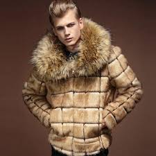 mens fur coats mens leather fur coats faux winter outerwear coat with fur collar khaki uvrwign