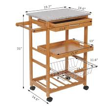 picture of wooden kitchen trolley cart with wine rack granite top