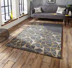 grey yellow geometric rug 100 wool arrows stars hand tufted large floor mat