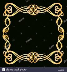 Decorative Gold Frame With Gold Elements On A Dark