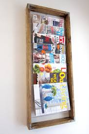 magazine rack wall mount: classic rectangle shaped wall mounted diy magazine holder with solid brown wood magazine storage ideas