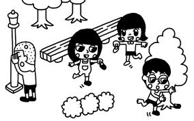 公園で靴隠しをして遊ぶ子どものイラスト 白黒ヤギさん フリー素材イラスト