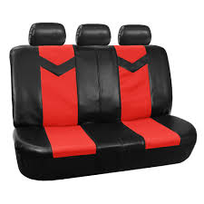 3 row car seat covers leather 8 seater suv van set red 4