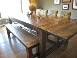 brown reclaimed wood farmhouse dining room table with benches also fl fabric upholstered dining chairs set design
