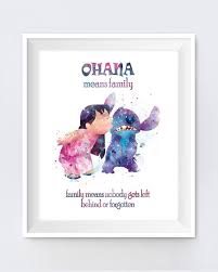 Ohana Means Family Quote Classy Stitch Ohana Means Family Quote Watercolor Art Print Lilo Etsy