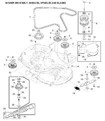 John deere x300r drive belt sheaves spindles and blades exploded parts diagram