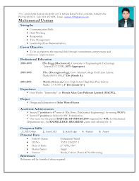 Resume Models Mechanical Engineering Freshers