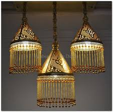 handcrafted 3 in 1 flush mount moroccan brass hanging lamp light chandelier