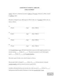 Child Support Agreement Form With Sample Of Letter Co Free Template ...
