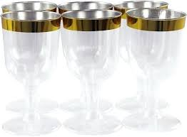 hard plastic wine glass set of 6 pieces clear and golden glasses canada i