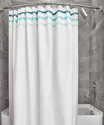 all gone white blue pom pom shower curtain