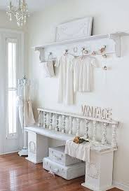 all-white shabby chic entryway