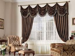 brown living room curtains. L : Classic Dark Brown Living Room Window Curtains Decor With Swag Valance (930x705) Y
