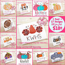 Lynnie Pinnie Embroidery Designs Fall 2019 10 Bundle 17 New Singles 1 New Font Not