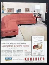 1957 Vintage Print Ad 1950s KROEHLER Furniture Red Couch Living Room