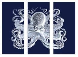 octopus wall art navy white octopus triptych framed wall art octopus wall art