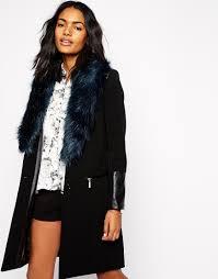 river island faux fur collar coat