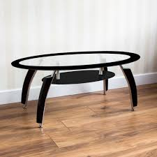 elena coffee table black oval glass shelf modern furniture new by home