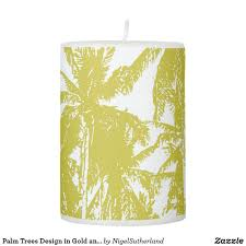 Tree Pillar Design Palm Trees Design In Gold And White Pillar Candle In 2019