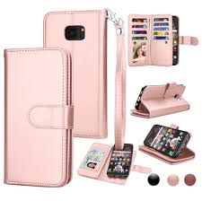 njjex wallet case for samsung galaxy s7 galaxy s7 edge njjex rose gold wrist strap luxury pu leather wallet flip protective case cover with 9 card