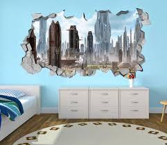 3d wall sticker decals 3d wallpaper 3d futuristic city wall sticker coming through