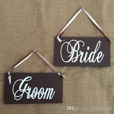 2019 wooden wedding signs groom bride hanging wedding chair signs decor rustic wedding decoration centerpieces photo props decors from giftvinco13