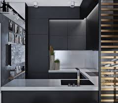 laconic grey and black kitchen united with a living space colours to match black and white