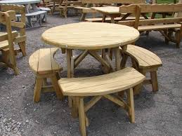 round picnic table with benches round table furniture round round wood picnic table