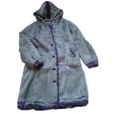 antik batik rabbit fur coat coats outerwear fur purple dark grey ref 50680