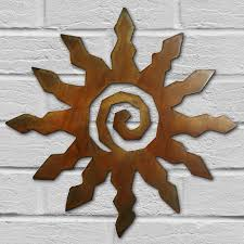 save 41 165151 12in 12 ray spiral sun 3d southwest metal wall art in rust finish