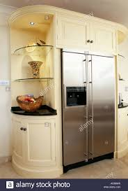 Kitchen Unit Cream Kitchen Unit With Built In Stainless Steel American Fridge