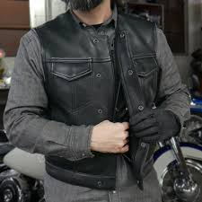 fim659cpm the lowside men s motorcycle leather vest