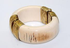 antique ivory bangle gold plated sterling silver hinge
